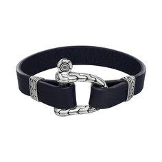 John Hardy Classic Chain Navy Blue Leather Shackle Bracelet - Fink's Jewelers