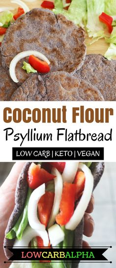 Coconut flour psyllium flatbread https://lowcarbalpha.com/coconut-flour-psyllium-flatbread/ Healthy low carb, keto, and vegan-friendly recipe. Use this keto bread with your favorite bread veggies or for dipping with sauces. Increase healthy fat and lower carbs with this sugar-free flatbread #lowcarb #keto #lchf #lowcarbalpha