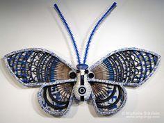 """Michelle Stitzlein, """"Nocturnal Indigo Gum Snout Moth"""", 2007, 80""""h x 114""""w x 12""""d  ©"""