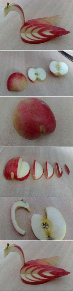 Apple food art - a Bird More fruit Decoration Patisserie, Food Decoration, Food Crafts, Diy Food, Easy Crafts, Fruit Crafts, Handmade Crafts, Food Food, Food Design
