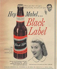 Vintage set of 2 Beer Can Shaped Advertising Salt Shakers Black Label Beer