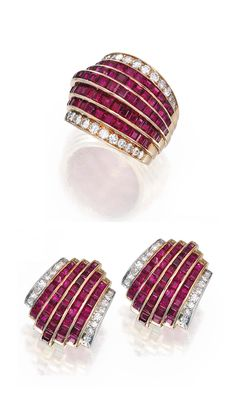 18 KARAT GOLD, RUBY AND DIAMOND RING AND EARCLIPS, VAN CLEEF & ARPELS. The ring designed with five rows set with 77 calibré-cut rubies, bordered by round diamonds weighing approximately 1.00 carat, size 8, signed V.C., numbered N.Y.23401 S.O.; the earclips of similar design set with 86 calibré-cut rubies bordered by single-cut diamonds weighing approximately .70 carat, signed Van Cleef & Arpels, numbered N.Y. 23160.