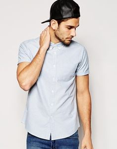 ASOS Oxford Shirt In Blue With Short Sleeves