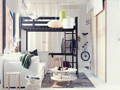 Enticing Small White IKEA Kids Bedroom Design with Modern Black Loft Bed and Round Wheeled Table also White Sofa #unique #interior #design // #interiordesign