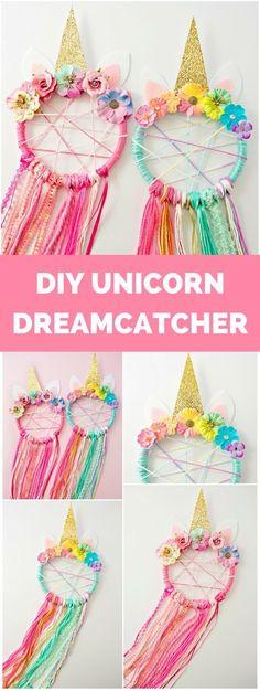 kids crafts for girls DIY Unicorn Dreamcatcher Party Unicorn, Unicorn Birthday Parties, Girl Birthday, Birthday Parties For Kids, Kid Birthdays, Birthday Party Games, Diy Crafts For Kids, Arts And Crafts, Kids Diy