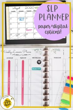 This speech therapy planner is perfect for school-based SLPs!  It includes options for a digital SLP planner and a printable speech therapy planner. #schoolSLP #SLPplanner