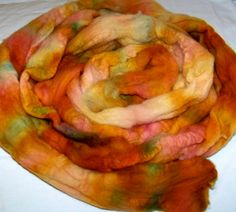 Hand Painted Wool Roving on Etsy, $25.00