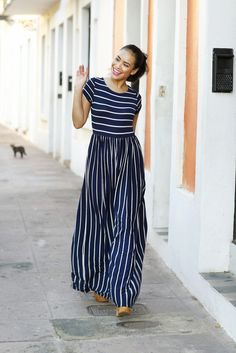 Share your Shabby!  Evalisse Maxi Dress Navy and White