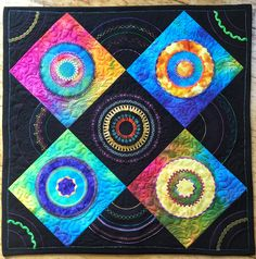 Piñata quilt, designed by quilt artist and designer Libby Lehman. LOTS of threads-Superior Rainbows, Fantastico, Metallic, Bottom Line; Jenny Haskin's metallics, Floriani Poly. Really enjoyed doing this.
