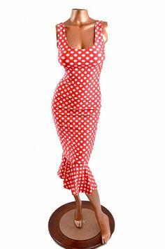 Red & White Polka Dot Print Sexy Tank Style Pinup Wiggle Dress  -E7138 on Etsy, $69.99