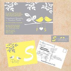 cute love bird wedding invitations