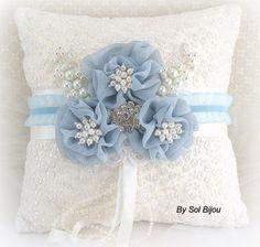 Ring Bearer Pillow Elegant Wedding White Serenity Blue by SolBijou