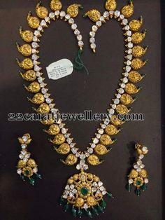Jewellery Designs: Antique Mango Mala with Diamonds