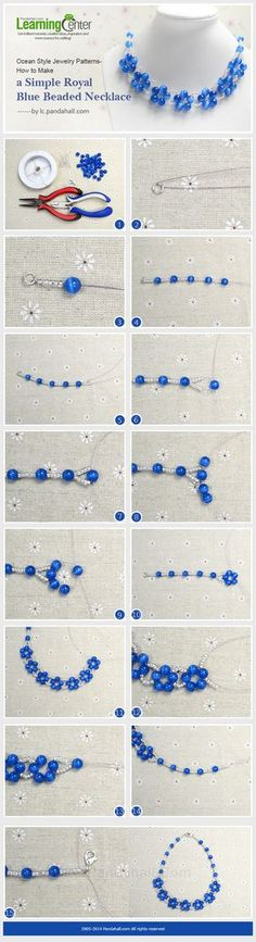 Ocean Style Jewelry Patterns-How to Make a Simple Royal Blue Beaded Necklace Más