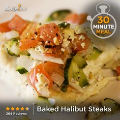 Baked Halibut Steaks   An Italian-style vegetable and feta cheese topping is the perfect enhancement to delicious baked halibut.