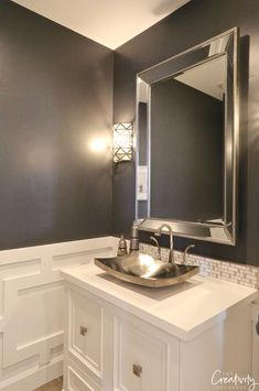 Benjamin Moore Collingwood: Color Spotlight - Wall color is Sherwin Williams Peppercorn. Powder Room Paint, Powder Room Decor, Powder Room Design, Room Wall Colors, Bathroom Paint Colors, Bad Inspiration, Bathroom Inspiration, Large Bathrooms, Small Bathroom