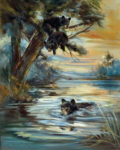 Bear cubs paddle around a pond on a warm summer afternoon. Open edition giclee by Marilynn Mason. Gallery wrapped and ready to hang. Available in three sizes x x x Made in the USA Bear Paintings, Wildlife Paintings, Water Drawing, Bear Pictures, Bear Art, Mural Painting, Wildlife Art, Nature Animals, Native American Art