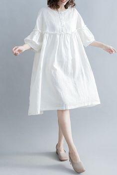 CUTE HIGH WAIST COTTON LINEN DRESSES WOMEN CASUAL CLOTHES Q1862
