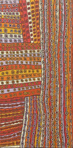 Josephine Nangala - Nyinmi - Ancestral snake Dreaming - JN1305030 - 122 x 61 cm http://www.aboriginalsignature.com/art-aborigene-papunya-tula/josephine-nangala-nyinmi-ancestral-snake-dreaming-jn1305030-122-x-61-cm