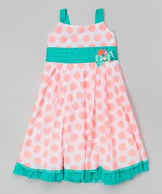 Loving this Coral & Teal Polka Dot Dress - Toddler & Girls on #zulily! #zulilyfinds