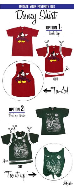 Upgrade an old Disney shirt, I really need to do this next time we go to Disney