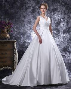 V-Neck Floor Length Pleated Satin Women Ball Gown Wedding Dress