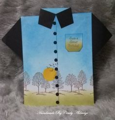 Shirt has Sponged ink pads for background with masked Sun, which was colored a little after background was done. Stamped with tree set from Stamping Up. Designed By Vickie Bierworth