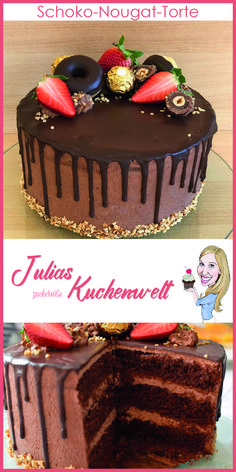 Schoko Nougat Torte Delicious chocolate nougat cake with video instructions from Julia's sugar-sweet cake world Lemon Desserts, Fall Desserts, Nougat Torte, Torte Recipe, Torte Cake, Brownie Desserts, Drip Cakes, Delicious Chocolate, Cake Chocolate