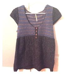 Free People blue and grey wool short sleeve top Free People short sleeve top with comfortable wool fabric. Cute combination of blue and grey striped pattern at the top, with light brown buttons at the center bust. Works for a casual date or work top Free People Tops Blouses