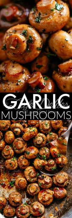 Buttery Garlic Mushrooms with a flavour twist! The herb garlic butter sauce is so good, you'll be serving these mushrooms with everything! Pan seared Garlic Mushrooms are a staple side in any restaurant, bistro, pub or steakhouse, Vegetable Side Dishes, Vegetable Recipes, Vegetarian Recipes, Cooking Recipes, Healthy Recipes, Garlic Mushrooms, Stuffed Mushrooms, Appetizer Recipes, Dinner Recipes
