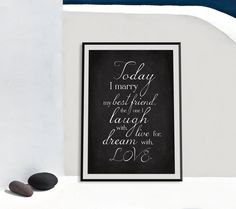"Wedding art print. ""Today I marry my best friend"" poster for instant download. Size A4 & A3. by GraphicCorner on Etsy"