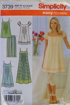 Simplicity 3739 Misses'/Miss Petite Dress in Three Lengths or Tunic and Capri Pants