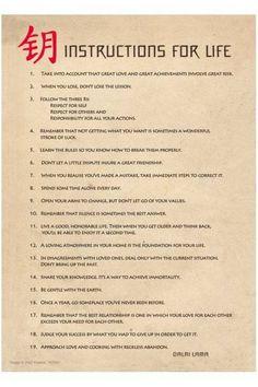 instructions for life | dalai lama