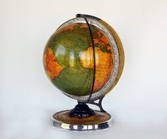 Rare 1936 Cram's Unrivaled Terrestrial Globe by NostalgicArtifacts Etsy Vintage, Globe, Display, Handmade, Stuff To Buy, Balloon, Hand Made, Billboard, Craft