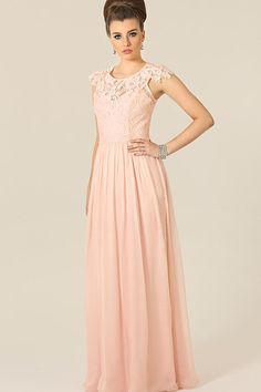 Beautiful A-Line Cap Sleeve Bateau Lace Chiffon Floor-Length Bridesmaid Dresses