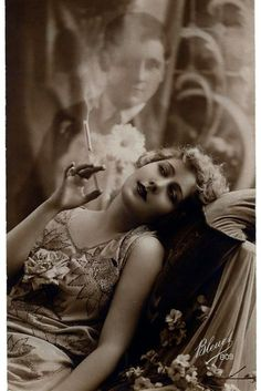 Sexy Sultry Smoking Woman Dreaming of Her Man From Vintage 1920s Flapper Cigarette Smoker Ad Sepia B & W Advertising Photography Photo Print