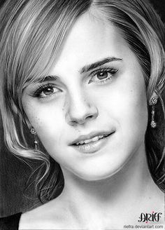 Emma Watson - 50 Excellent Examples of Portrait Drawing  <3 <3