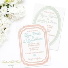 Aren't these watercolor framed wedding invitations dreamy?  I love how soft and romantic they feel.  The best part is that all the colors are able to be customized! Find these beauties in my shop now (link in profile)