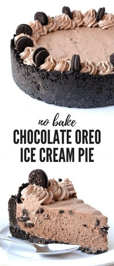 This Chocolate Oreo Ice Cream Pie is AMAZING! Oreo crust, homemade chocolate ice cream filling, chocolate cream swirls and mini Oreos! And no need to turn the oven on! Find the easy recipe on sweetestmenu.com #oreos #chocolate #pie #icecream #dessert