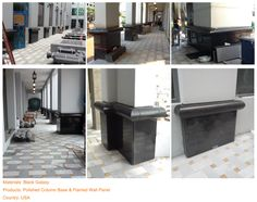Project (12) Materials: Black Galaxy  Products: Polished Column Base & Flamed Wall Panel  Country: USA