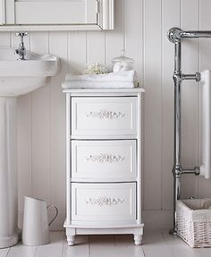 White Rose bathroom cabinet with 3 drawers for storage from The WHite Lighthouse