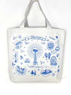 SAMPLE SALE Seattle Center Screen Print Canvas Tote Bag by OLIOTTO