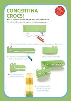 Illustrated instructions on how to make a crocodile that grows, inspired by Roald Dahl& Enormous Crocodile Roald Dahl Games, Roald Dahl Activities, Roald Dahl Day, Roald Dahl Books, Art Activities, Library Activities, Summer Activities, Toddler Activities, Crocodile Craft