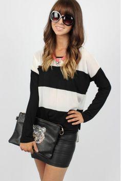 B&W Wide Striped Top $24.99 #blackandwhite #striped #tunic #sophieandtrey #top #blackandwhitetop