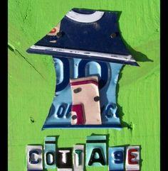 Cottage - License plate art  ☮*✿⊱レ o √ 乇 !!
