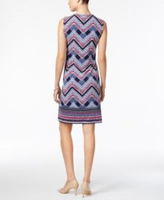 Jm Collection Petite Embellished Printed Sheath Dress, Only at Macy's - Blue P/XS