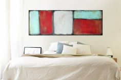 XL Abstract painting  Red grey with turquoise door RonaldHunter, $399.00