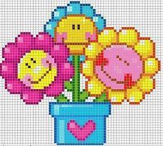 Flowers hama perler pattern