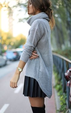 knitted sweater, pleated skirt and overknee socks