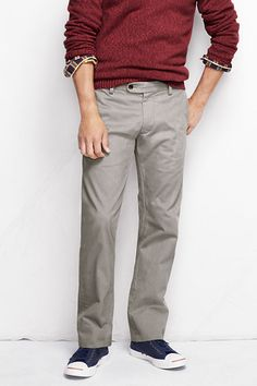 Men's Elston 628 Straight Fit Chino Pants from Lands' End. Nice maroon sweater.